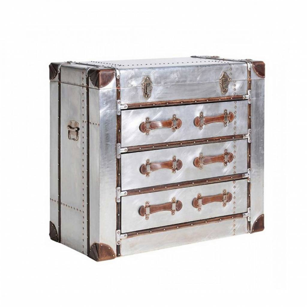 Silver 3 Drawer Trunk Chest