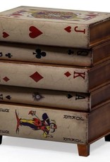 Antiqued Stacked Playing Cards Side Cabinet
