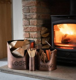Hill Interiors Log's & Kindling Buckets + Matchstick Holder In Copper