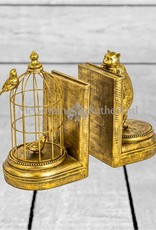 Antique Gold Curious Cat Bookends