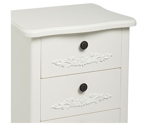 LPD French 3 Drawer Bedside - White