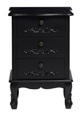 LPD French 3 Drawer Bedside - Black