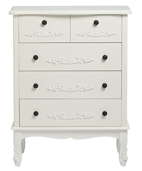 French 5 Large Drawer Chest - White