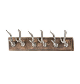 Polished Nickel Stag Hooks on a Wooden Board