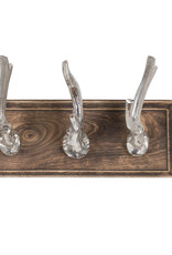 Hill Interiors Polished Nickel Stag Hooks on a Wooden Board