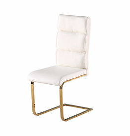 White and Gold Dining Chair - Pair
