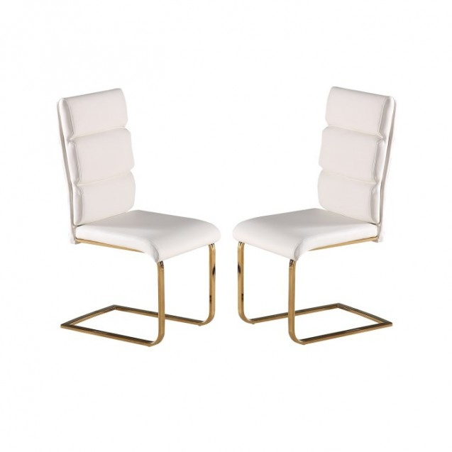 LPD White and Gold Dining Chair - Pair