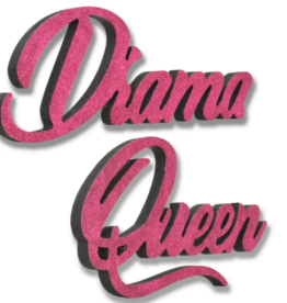 Giant 3D Pink Glitter Words Drama Queen