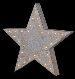 White Wash Lit Starry Star