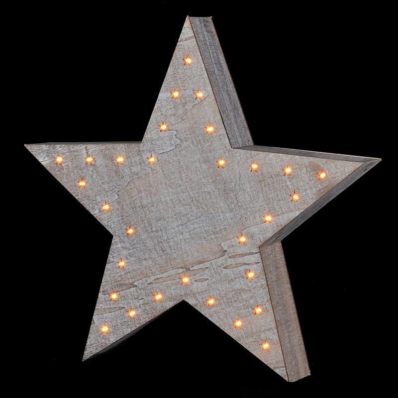 White Wash Lit Starry Star