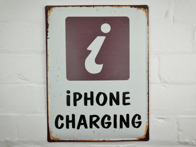 Iphone Charging Metal Sign
