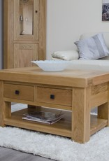 HomestyleGB Bordeaux Solid Oak Coffee Table With Drawers