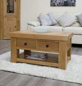 Bordeaux Solid Oak Coffee Table With Drawers