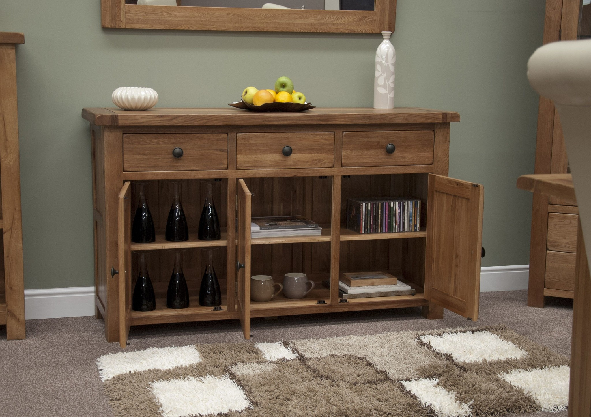 HomestyleGB Rustic Oak Large Sideboard