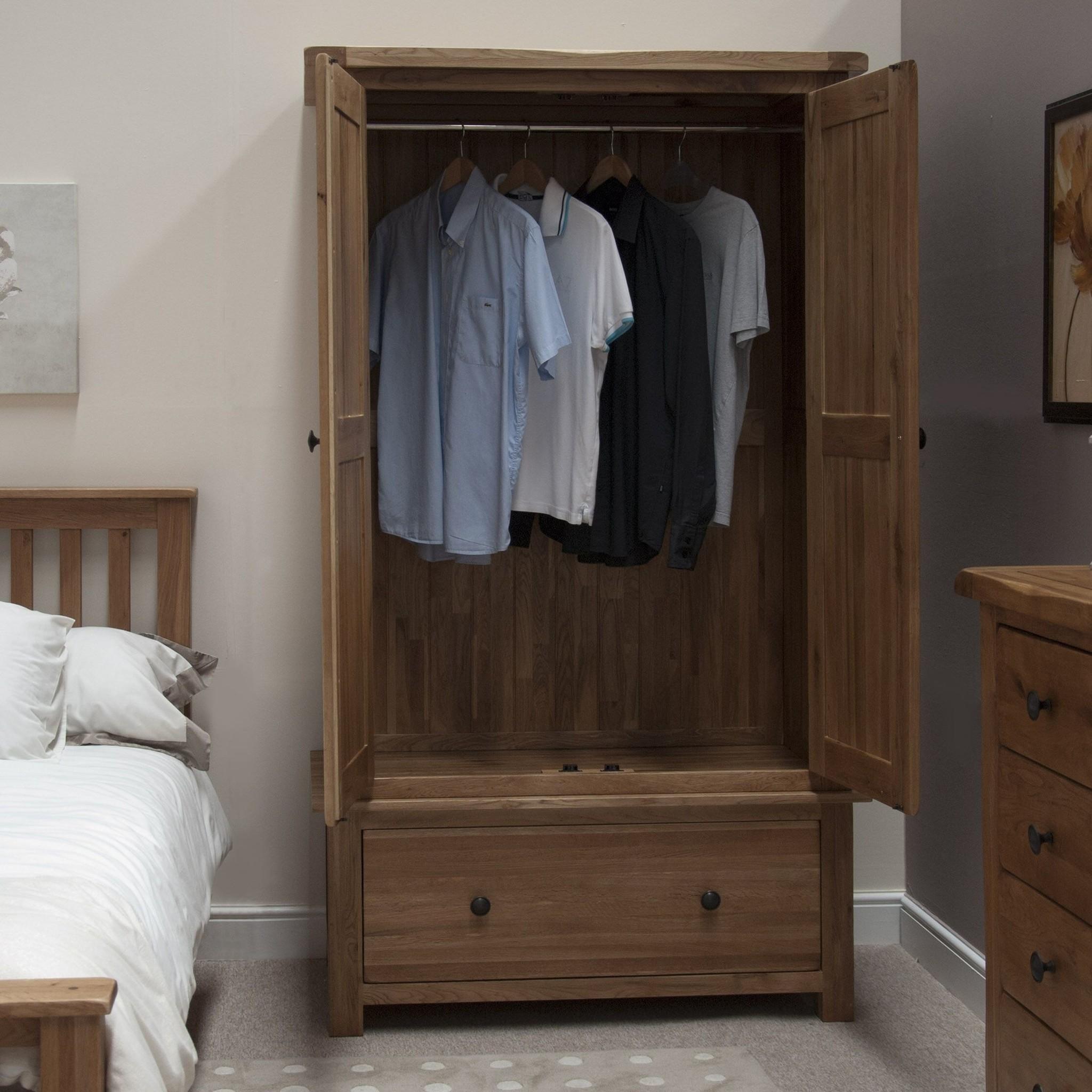 HomestyleGB Rustic Oak Gents Wardrobe