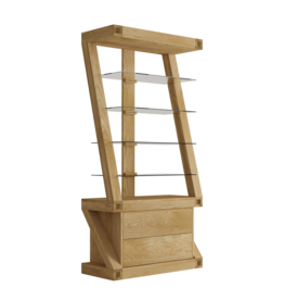 Z Designer Solid Oak  Glass Display Unit