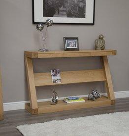 HomestyleGB Z Designer Solid Oak Wide Console With Shelf