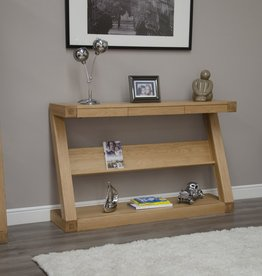 Z Designer Solid Oak Wide Console With Shelf