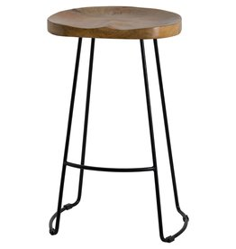 Hill Interiors Franklin Hardwood Shaped Bar Stool