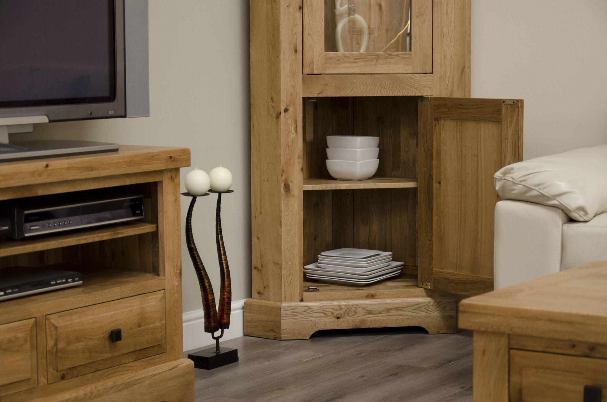 Deluxe Oak Corner Display Unit