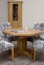 Deluxe Oak Round Extending Dining Table