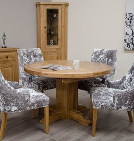 HomestyleGB Deluxe Oak Round Extending Dining Table