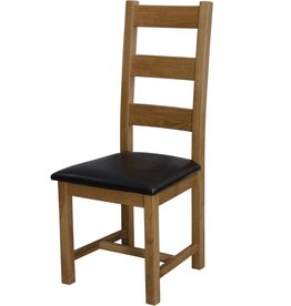 HomestyleGB Deluxe Oak Ladder Back Dining Chair - Pair