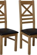 HomestyleGB Deluxe Oak Cross Back Dining Chair - Pair