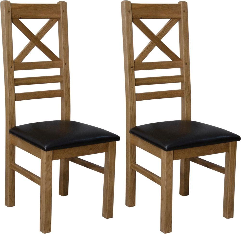 Deluxe Oak Cross Back Dining Chair - Pair