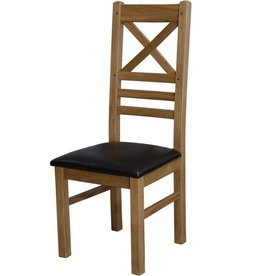 HomestyleGB Deluxe Oak Cross Back Dining Chair - Pair