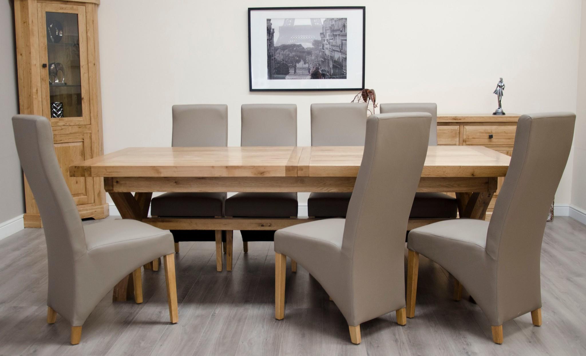 Deluxe Oak Super X Leg Extending Dining Table