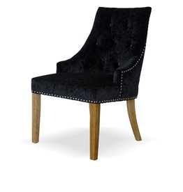 HomestyleGB Bergen Crushed Black Dining Chair - Pair