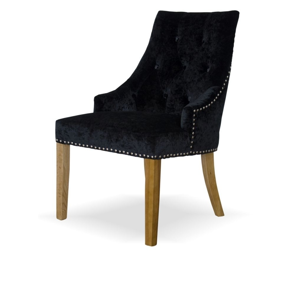 HomestyleGB Bergen Crushed Black Dining Chair - Pair
