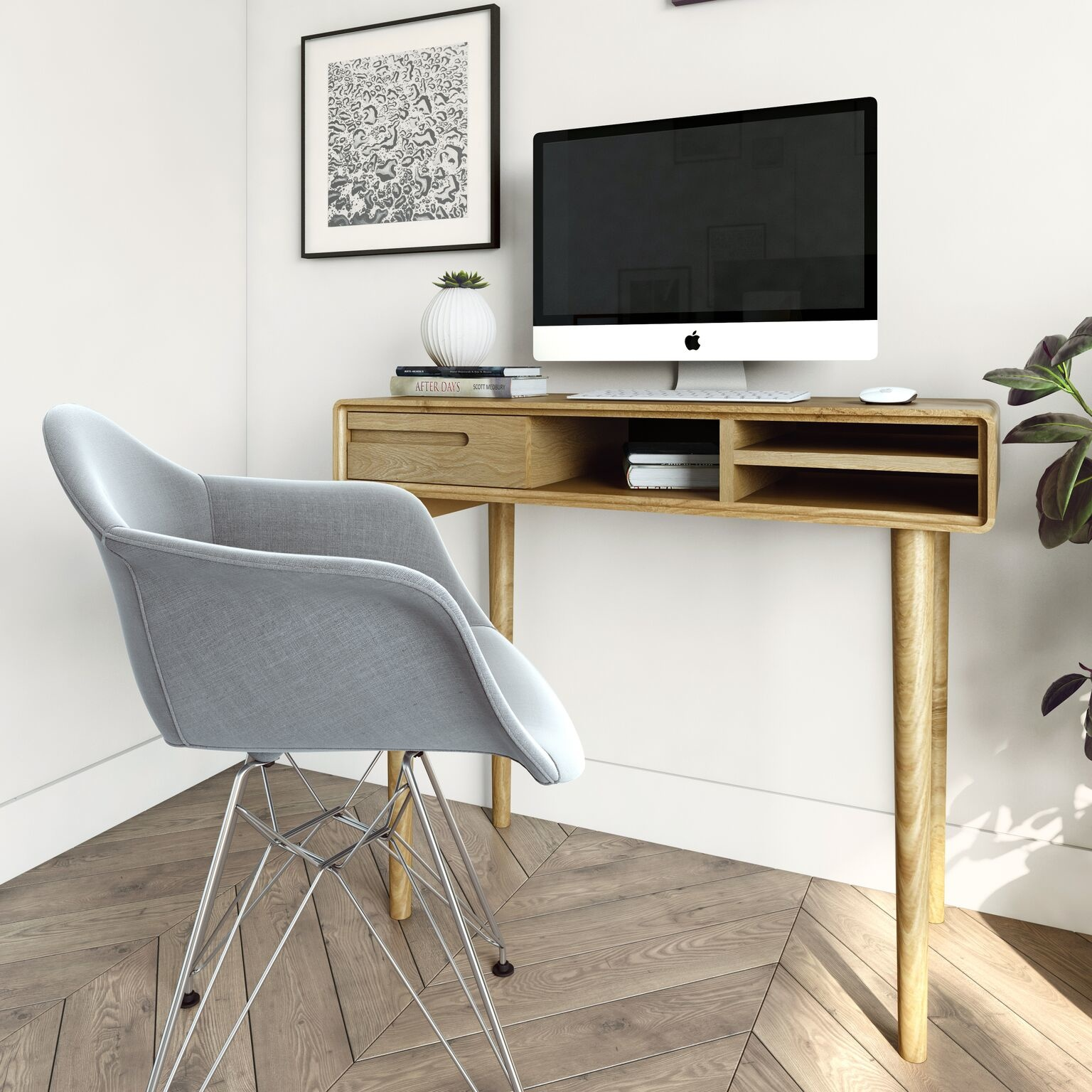 HomestyleGB Scandic Oak Computer Desk