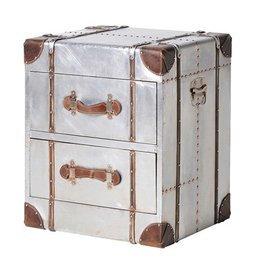 Silver 2 Drawer Chest With Straps