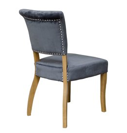 HomestyleGB Capri Grey Velvet Dining Chair - Pair