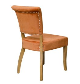 HomestyleGB Capri Orange Velvet Dining Chair - Pair