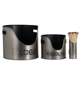 Hill Interiors Log's & Kindling Buckets + Matchstick Holder In Pewter