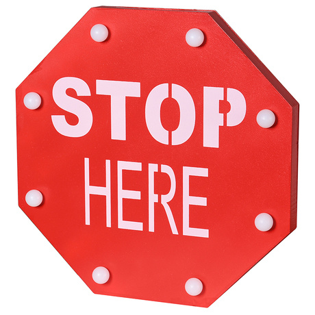 Led Stop Here Sign