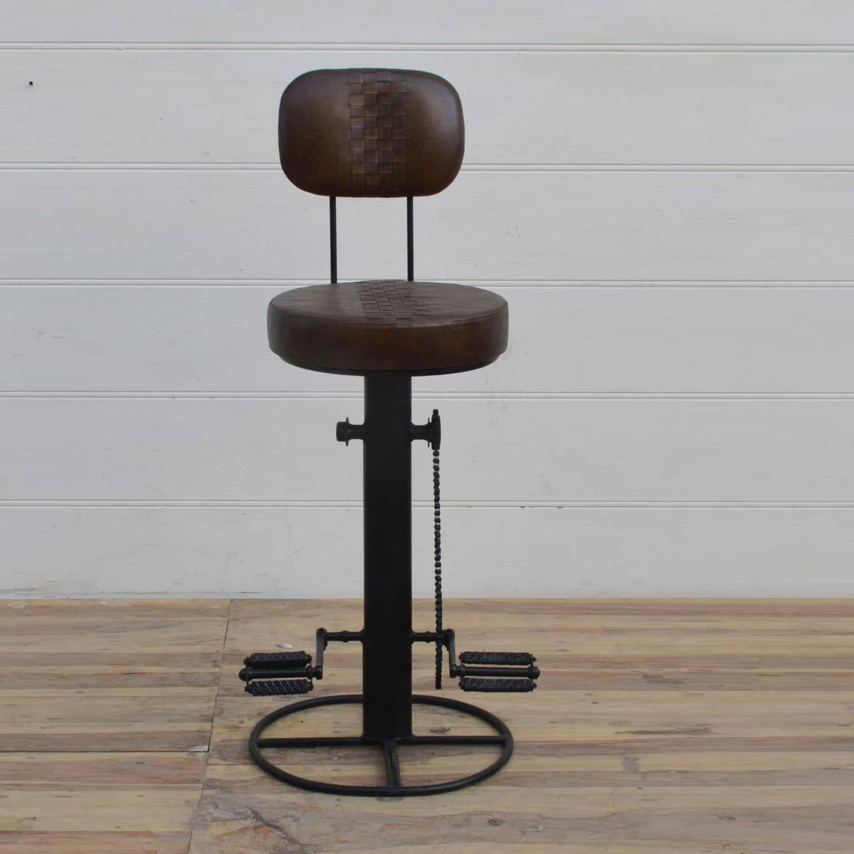 Besp-Oak  Iron / Leather Bar Chair Stool
