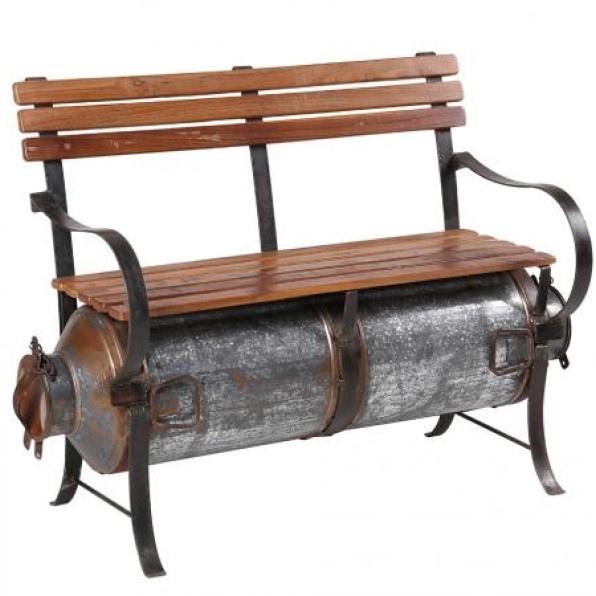 Besp-Oak Wooden Slatted Bench With Milk Barrel