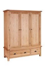 Besp-Oak Vancouver Oak Wardrobe 3 Doors & Drawers