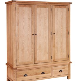 Besp-Oak Vancouver Select Oak Wardrobe 3 Doors & Drawers