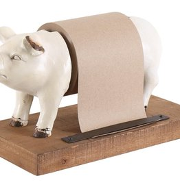 Besp-Oak Weathered White Resin Pig Grocery List Holder