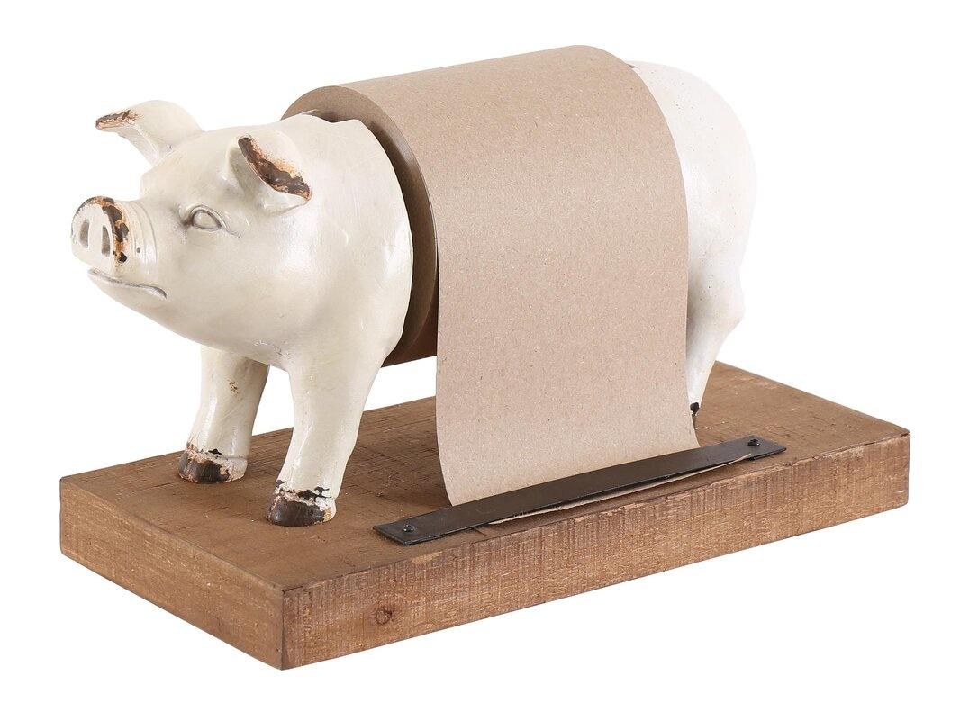 Besp-Oak Weathered White Resin Pig Grocery List Holder