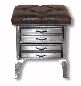 Industrial Drawers With Faux Leather Top- 50 cm