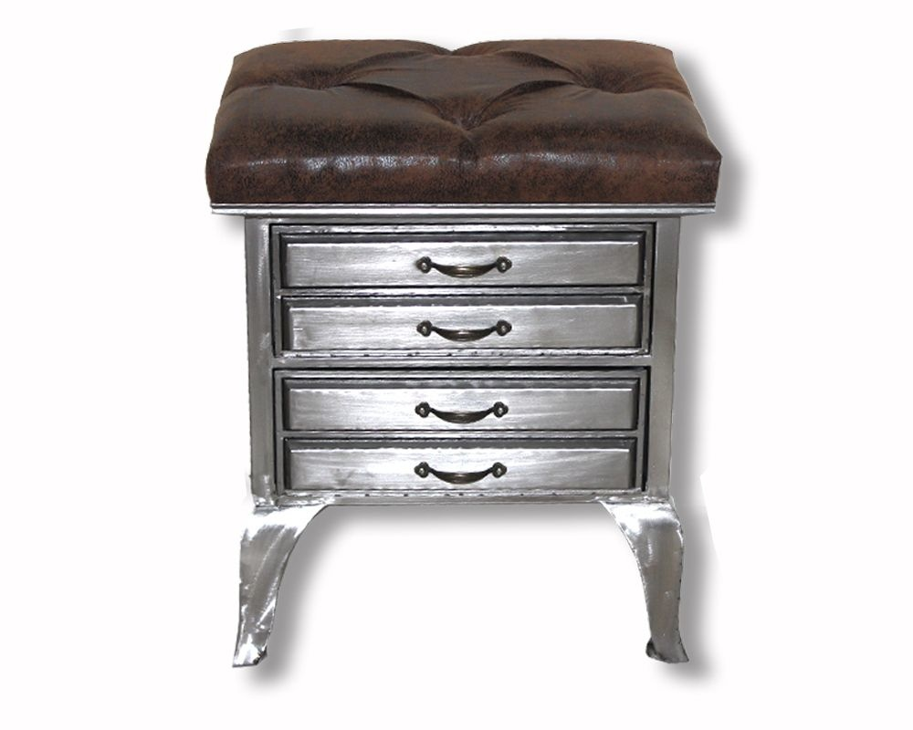 Industrial Drawers With Faux Leather Lid - 50 cm