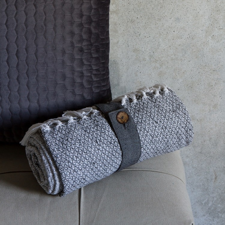Kilburn & Scott Cotton Diamond Throw Grey