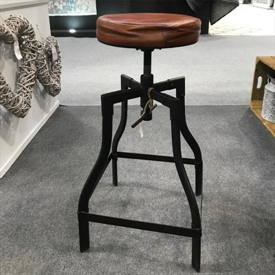 Revolving Leather Top Bar Stool