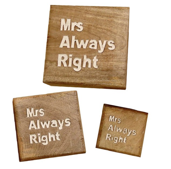 Mrs. Always Right- Set Of 3 Boxes